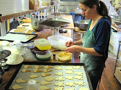 Frosting cookies at Underbrink's Bakery in Quincy lllinois