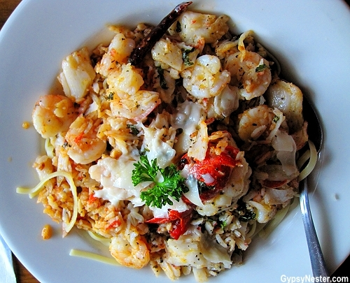 Seafood pasta at Vinny Vanucchi's in Galena Illinois