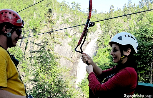 Veronica is trying to smile through the fear before zip line in Newfoundland